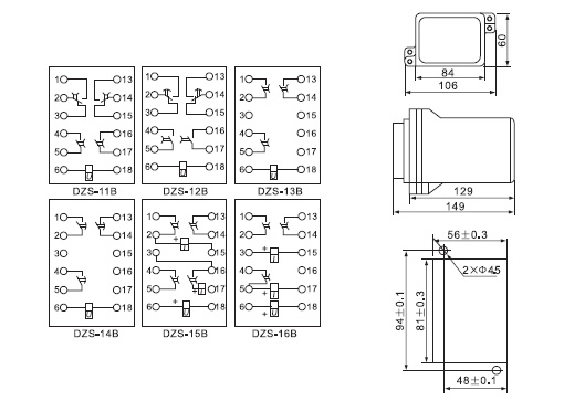 结构和工作原理 继电器为电磁式动作继电器,采用JK-1型壳体,将DZS-200机芯装入壳体中,具有透明的壳罩可以清楚观察到继电器的内部结构。外形尺寸及开孔图见附录,内部接线图见图1。 继电器分为动作延时和返回延时两种。在继电器铁芯上面装有阻尼环,当线圈通电或断电时,阻尼环中感应电流所产生的磁通阻碍主磁通的增加或减少,由此获得继电器动作延时或返回延时。 3